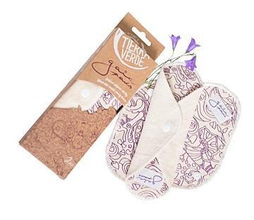 Gaia Pads – pantyliners from organic cotton velvet – purple – (2 pcs)