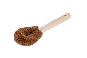 Coconut fibre brush with handle